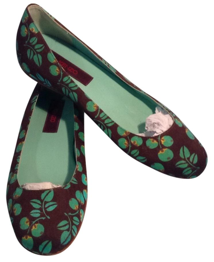 Kenzo US Brown/Green Canvas Flats Size US Kenzo 7 Regular (M, B) 080afd