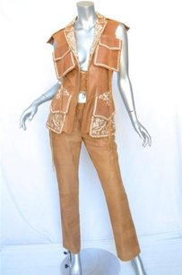 Kenzo Kenzo Brown Embroidered Sueded-leather Vestjacketpanttrouser Folk Art Suit