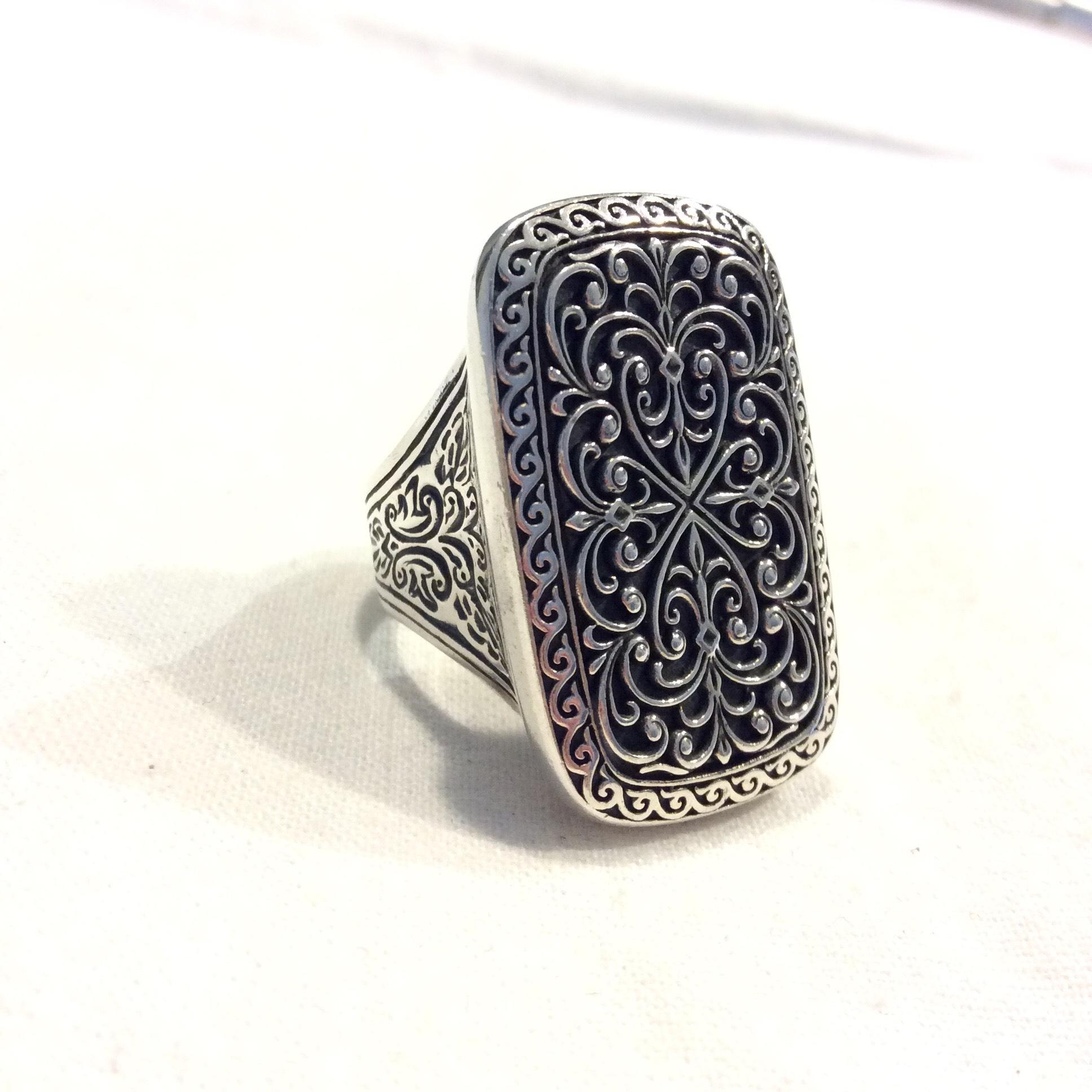 Konstantino Large Silver Rectangle Filigree Ring Hnrxc