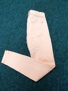 Koral Peach Cotton Flat Zip Front Pocket Solid Bb897 Skinny Jeans