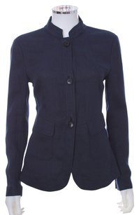 Lafayette 148 New York Ribbed Light Weight Buttons Navy Jacket