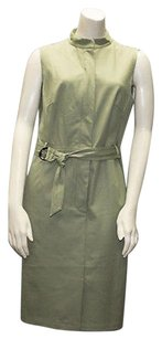 Lafayette 148 New York Cotton Blend Zip Front Belted Sheath Hs1914 Dress