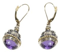 Lagos LAGOS Caviar Fleur Des Lis Amethyst 925 St Silver 18K Gold EARRINGS