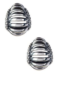 Lagos LAGOS CAVIAR FLUTED DOME 925 ST SILVER 18K SMALL HOOP EARRINGS