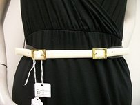 LAI Lai Contrast Strap Frame Prong Belt Black Ivory Genuine Box Calf