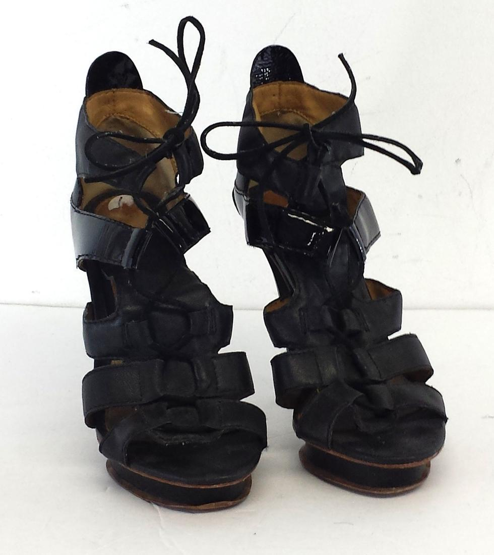 L.A.M.B. Leather Lace-Up Sandals