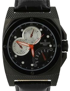 Lancaster Lancaster Mens Watch Italian Leather Stainless Steel Quartz 0344 Black