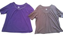 Lane Bryant Avenue Catherines Poncho Cardigan Tshirt Michael Kors Vince 4x 3x Plus Sweater Tunic Top Purple & Brown