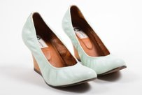 Lanvin Pale Tan Green Platforms