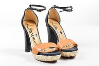 Lanvin Black Tan Leather Multi-Color Sandals