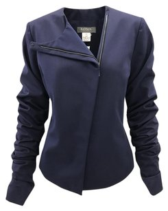 Lanvin Asymmetrical Cotton Zip Ruched Padded Navy Blue Jacket