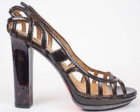 Lanvin Snakeskin Pattern Open Cage Platform Heels Dark Brown Pumps