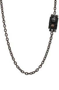 Lanvin Lanvin Bronze Black Leather Crystal Long Necklace