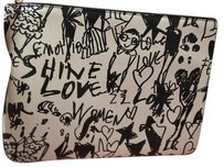Lanvin Leather Sketch Pouch Wristlet in White and Black