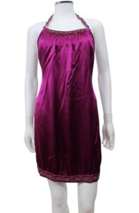 Laundry by Shelli Segal short dress Purple Sateen Beaded Halter on Tradesy