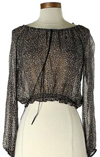 Laundry by Shelli Segal Silk Print Sheer Cropped Top Brown