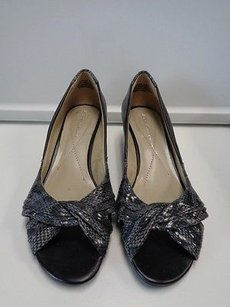 Laura Ashley Laura Animal Print Wedge Open Toe Heels B3301 Black And Gray Platforms