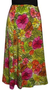 Laura Ashley Excellent Cond. A Line Skirt MULTI COLOR FLORAL PINK YELLOW GREEN