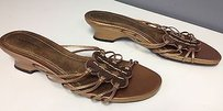 Laura Ashley Laura Metallic Leather Slip On Top Accented B3222 Bronze Sandals