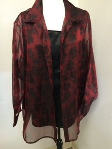 Laura Scott Woman Plus 20w Sheer Faux Piece Layers Black Maroon Top Red