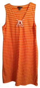 Ralph Lauren short dress Orange and White Stripe 100% Cotton on Tradesy