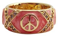 Lauren G Adams Lauren G Adams Gold W Pink Enamel Peace Sign Band Ring