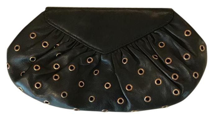 Lauren Merkin Butter-soft black decorative clutch