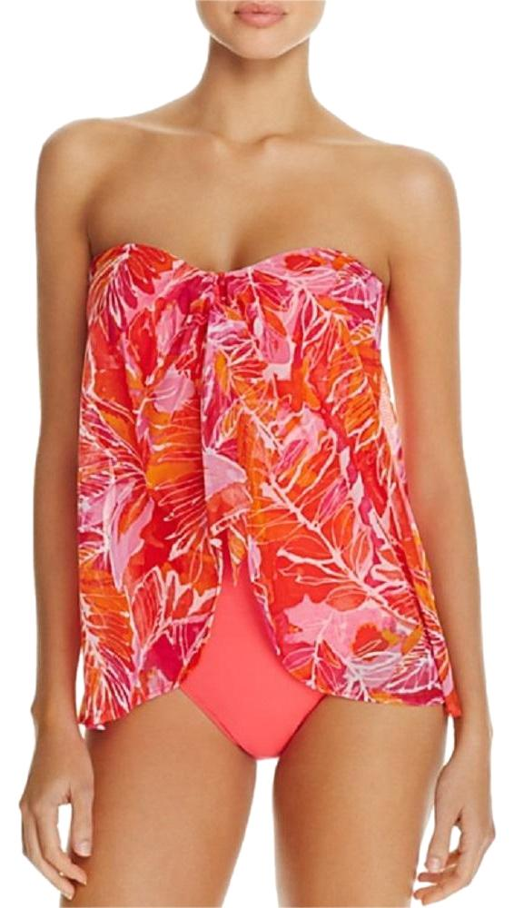 Lauren Ralph Lauren Lush Tropical Floral Print Fly Away One Piece Swimsuit  Red ...