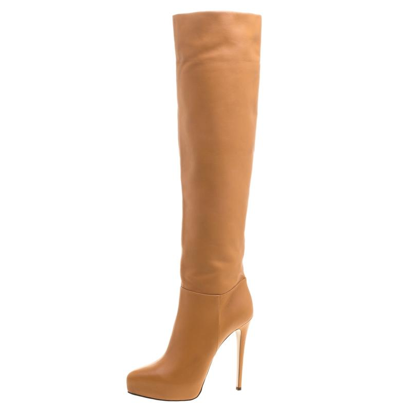 Le Silla Brown Caramel Leather Over The Knee Boots/Booties Size EU 37.5 (Approx. US 7.5) Regular (M, B)