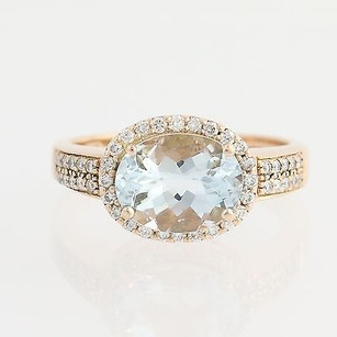 Le Vian Le Vian Aquamarine Diamond Ring - 14k Rose Gold March Birthstone Halo 2.33ctw