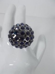 Lee Angel Lee Angel Blue Crystal Gunmetal Dome Bubble Disco Ring