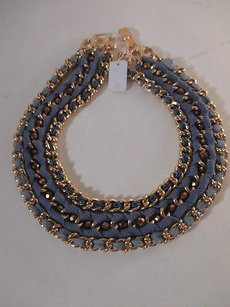 Lee Angel Lee Angel Gold Link Blue Rope Three Tier Clasp Heavy Necklace