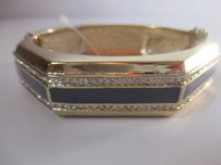 Lee Angel Lee Angel Gold Plated Crystal Grey Enamel Hinged Cuff Bracelet