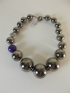 Lee Angel Lee Angel Gunmetal Bauble Fireball Purple Marble Short Necklace