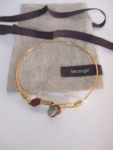 Lee Angel Lee Angle Grey Stone Brown Rope Gold Wire Hook Bracelet