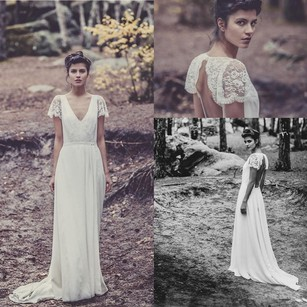 Lela Rose Bohemian Backless Wedding Dress