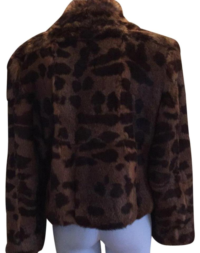 Leopard print cropped fur coat