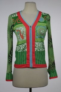 Lillie Rubin Womens Printed Full Zip Long Sleeve Shirt Sweater