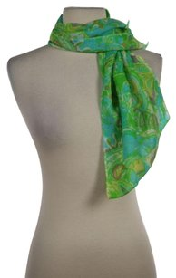 Lilly Pulitzer Lilly Pulitzer Womens Blue Floral Scarf One Silk Cashmere