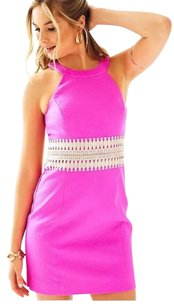 Lilly Pulitzer short dress Magenta Pink Pink Gold Lace Waist Hot Pink Shift on Tradesy