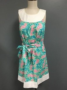 Lilly Pulitzer short dress Multi-Color Blue Pink Cotton Back Zip Knee Length Shift Sm2068 on Tradesy