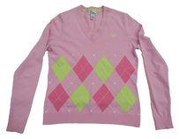 Lilly Pulitzer V-neck Argyle Preppy Sweater