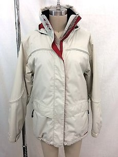 L.L.Bean L.l. Bean Outdoors Cream Red Trim Hooded Snowboard Jacket W Beanie