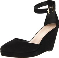 Loeffler Randall Leather Suede Luxury Ankle Strap Black Wedges