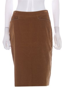 Loro Piana Corduroy Leather Cotton Skirt Brown