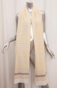 Loro Piana Loro Piana Womens Classic Creamyellow Striped Cashmere Knit Scarf Wrap Shawl