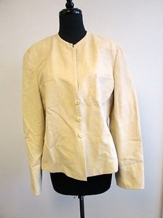 Louis Feraud Feraud Beige Rayon Long Sleeves Lined Solid Button Blazer Jacket Q183