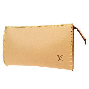 Louis Vuitton Hand Pouch Leather Brown Clutch