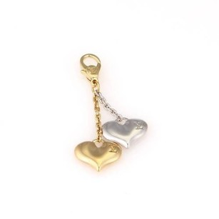 Louis Vuitton Louis Vuitton 18k White Yellow Gold Double Heart Dangle Pendant