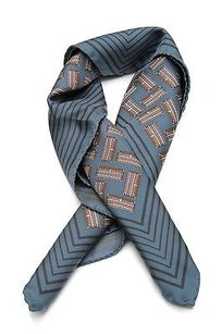 Louis Vuitton Louis Vuitton Blue Silk Malles Trunk Scarf